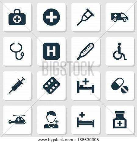 Medicine Icons Set. Collection Of Hospital, Handicapped, Pills Elements. Also Includes Symbols Such As Aid, Polyclinic, Illness.