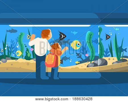 Dad with son in oceanarium. Underwater world fish and seaweed. Vector illustration