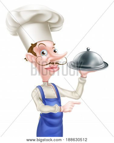 An illustration of a cartoon chef holding a metal dome and pointing