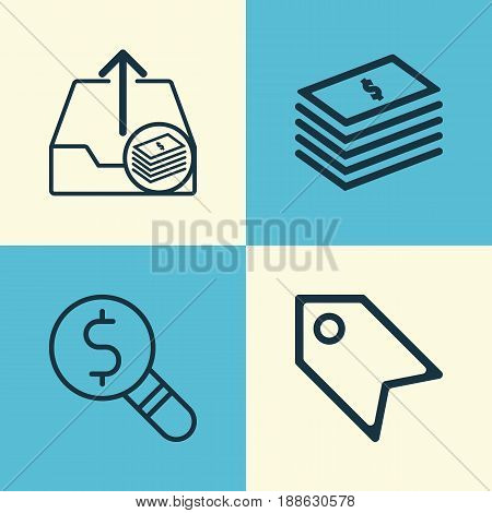 E-Commerce Icons Set. Collection Of Outgoing Earnings, Price Stamp, Business Inspection And Other Elements. Also Includes Symbols Such As Upload, Paid, Paper.
