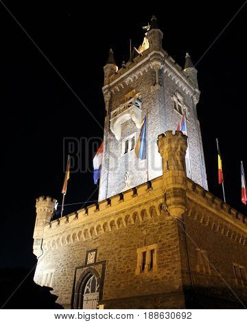 The 19 century tower ,'Wilhelmsturn', the famous landmark in Dillenburg, Hesse, in Germany, illuminated at night.