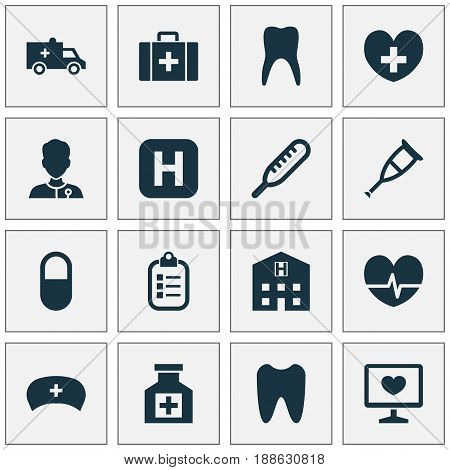 Drug Icons Set. Collection Of Heal, Rhythm, Dental And Other Elements. Also Includes Symbols Such As Hospital, Crutch, Cap.