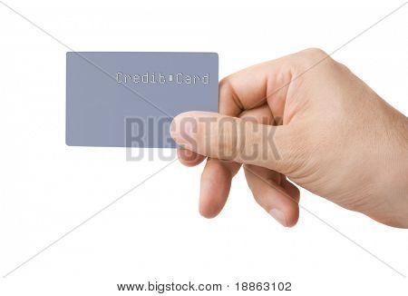 Mężczyzna dłoni dając szare kolorowe karty kredytowej bez nazwy lub numery, na białym tle