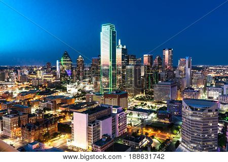 Aerial view of Dallas Texas city skyline at night