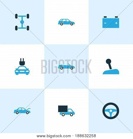 Auto Colorful Icons Set. Collection Of Electric Car, Battery, Auto Hood And Other Elements. Also Includes Symbols Such As Accumulator, Chassis, Lever.