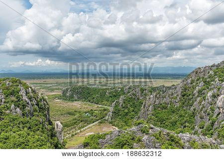 Mountain landscape at Khao Dang View point Khao Sam Roi Yot National Park. Thailand.