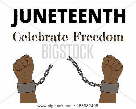 Juneteenth, Celebrate Freedom. Hand-drawn poster, hands with broken chain