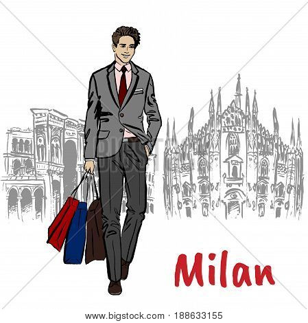 Sketch of man with shopping bags near Milan Cathedral, Duomo di Milano, piazza del Duomo in Milan, Italy