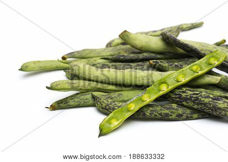 Green beans on white background, close up