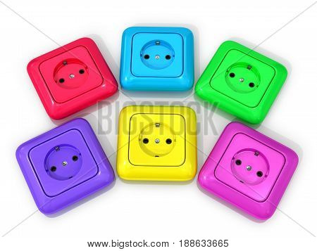 Multicolored sockets on a white background. 3D illustration