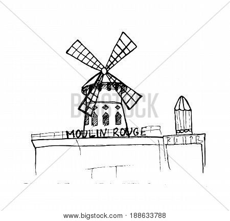Moulin Rouge, Paris. Hand-drawn sketch isolated on white