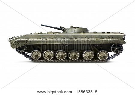 Russian infantry light tank BMP-2 with clipping path on a white isolated background