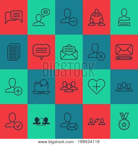 Social Network Icons Set. Collection Of Group, Society, Ban Person And Other Elements. Also Includes Symbols Such As Favorites, Work, Delete.