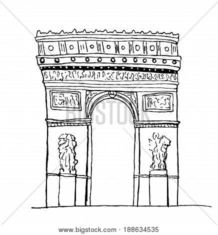 Arc de Triomphe, Paris. Hand-drawn sketch isolated on white