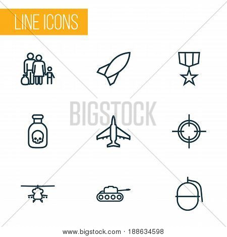 Combat Outline Icons Set. Collection Of Panzer, Target, Aircraft And Other Elements. Also Includes Symbols Such As Plane, Refugee, Target.