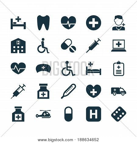 Antibiotic Icons Set. Collection Of Drug, Plus, Pellet And Other Elements. Also Includes Symbols Such As Pellet, Plus, Infirmary.