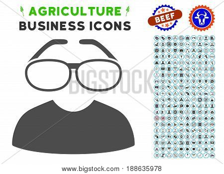 Clever Spectacles gray icon with agriculture commercial pictogram pack. Vector illustration style is a flat iconic symbol. Agriculture icons are rounded with blue circles.
