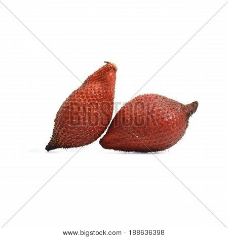 Tropical Fruit : Snake Fruit, Salak, Salacca Or Sala Isolate On White Background