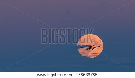 Silhouette of landing airplane. Conceptual image symbolizing travel industry and tourism