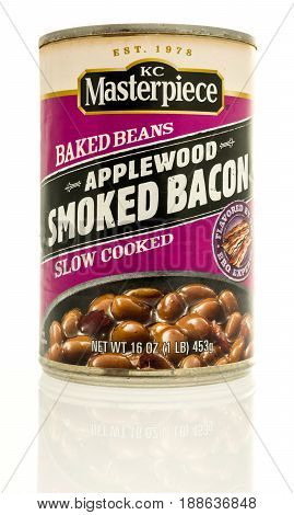 Winneconne WI - 13 May 2017: A can of KC Masterpeice applewood smoked bacon baked beans on an isolated background.