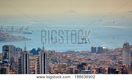 Aerial view of Istanbul and Bosphorus. Shooting through the glass. Retro style