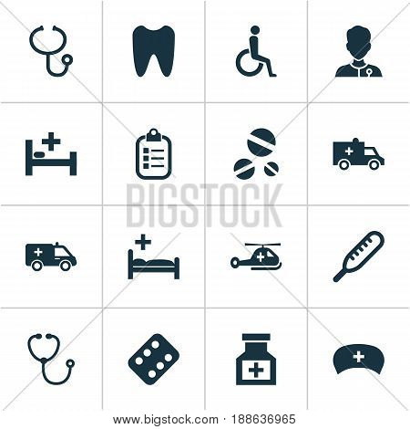 Antibiotic Icons Set. Collection Of Drug, Mark, Review And Other Elements. Also Includes Symbols Such As Antibiotic, Help, Nurse.