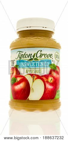 Winneconne WI - 13 May 2017: A jar of Tipton Grove applesauce on an isolated background.