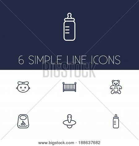 Set Of 6 Kid Outline Icons Set.Collection Of Nipple, Baby, Crib And Other Elements.