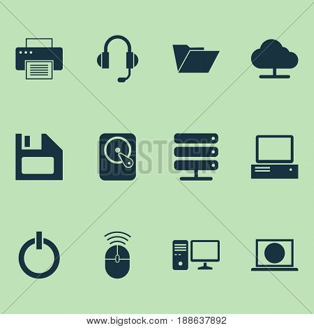 Digital Icons Set. Collection Of Web, Power On, Hdd And Other Elements. Also Includes Symbols Such As Internet, Diskette, Online.