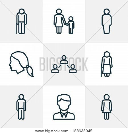 Person Outline Icons Set. Collection Of Social Relations, Mother, User And Other Elements. Also Includes Symbols Such As Graybeard, User, Walk.