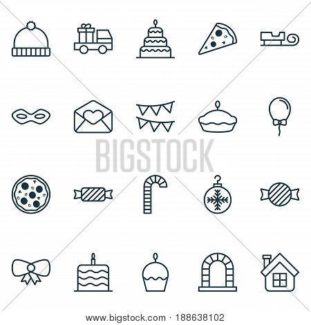 Celebration Icons Set. Collection Of Greeting Email, Celebration Cake, Sliced Pizza And Other Elements. Also Includes Symbols Such As Carnival, Tart, Pizzeria.