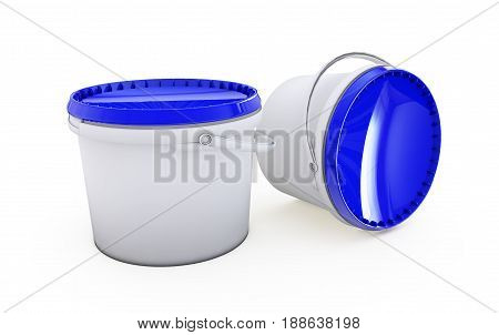 Paint can.Isolated on white.3d rendered. Pail, Putty, Bail, Bucketful, Adhesives, Sealants, Primers