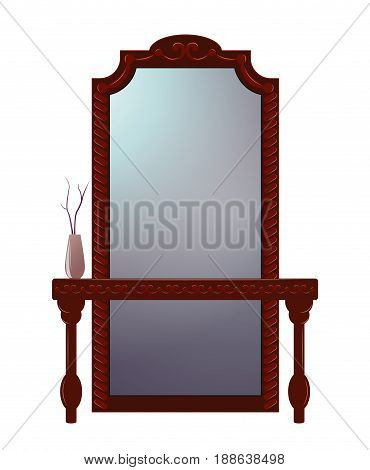 Antique dressing table with mirror in carved wooden frame isolated on white.