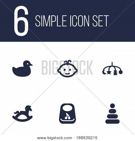 Set Of 6 Child Icons Set.Collection Of Duck, Breastplate, Baby And Other Elements.