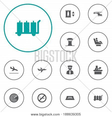 Set Of 12 Airplane Icons Set.Collection Of Cab, Radiolocator, Vip And Other Elements.