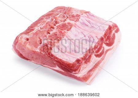raw meat isolated on white Cruda, Carnes, Buey, Rabadilla