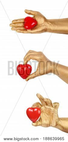 Set from Man's golden hand with a red heart over white background. Element for romantic holiday designs and for healthcare, medicine and World Blood Donor Day. Red Heart and Hand isolated on white