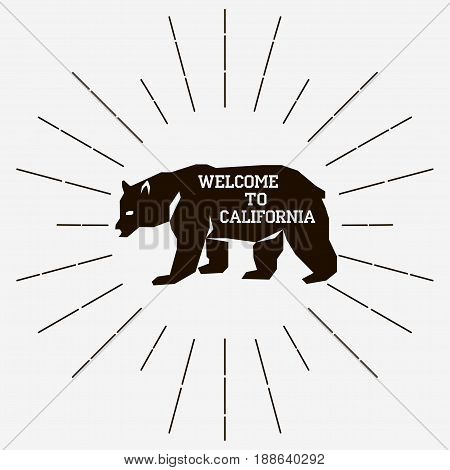 California retro vintage typography Grizzly Bear print Design for t-shirt - vector