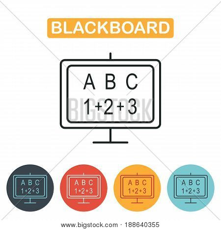 Blackboard icon. School blackboard line icon. Education simbol for web and graphic design. Line style logo. Vector illustration.