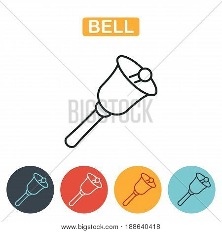 Bell icon. School bell line icon isolated on white background. Education icon for web and graphic design. Line style logo. Vector illustration.