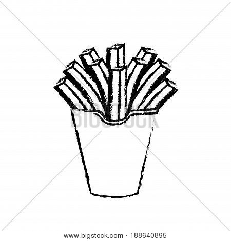 figure delicious fries french fast food meal, vector illustration