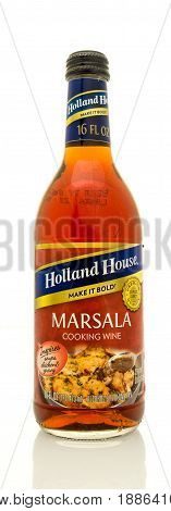 Winneconne WI - 16 May 2017: A bottle of Holland House Marsala cooking wine on an isolated background.
