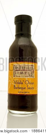 Winneconne WI - 16 May 2017: A bottle of Tastefully Simple vidalia onion barbeque sauce on an isolated background.