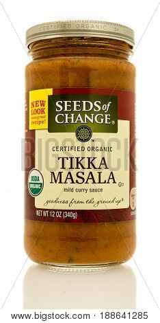 Winneconne WI - 16 May 2017: A jar of Seeds of Change Tikka Masala mild curry sauce on an isolated background.