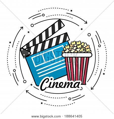 clapperboard with popcorn to cinematography film, vector illustration