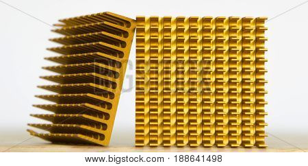 Copper Cooler Heat Sink Closeup Background Textured Pattern Abstract Yellow Gold Golden