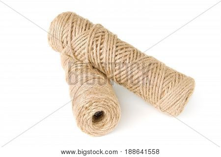 Two rolls of rope isolated on white background