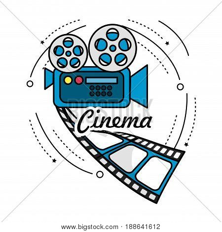 movie camera with reel scene and filmstrip, vector illustration