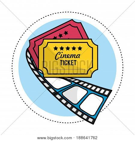 tickets with filmstrip to short film scene, vector illustration