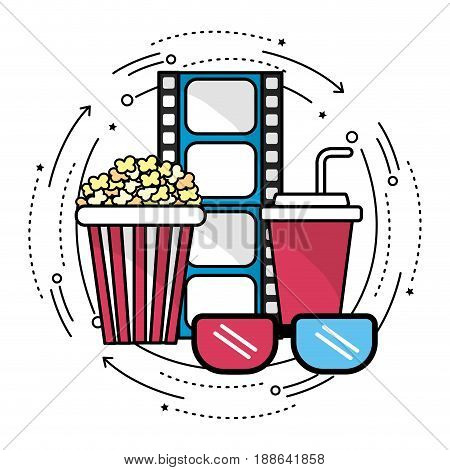 filmstrip with cinematography tools icon, vector illustration